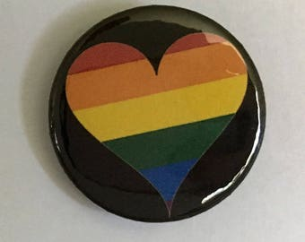 gay pride rainbow HEART flag button pin LGBTQ