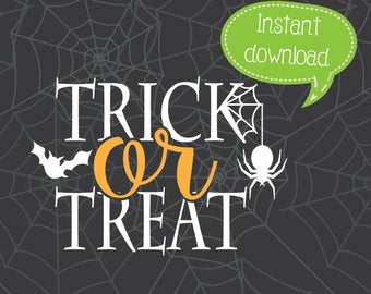 Trick or Treat SVG, Halloween SVG, Halloween Clipart, Cricut Cut File, Silhouette File