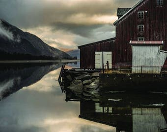 Norway travel photography print fjord nature calming cheap photography prints wall art