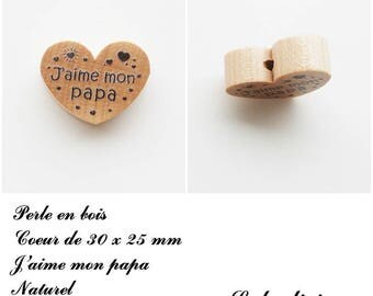 30 x 25 mm wooden bead, Pearl flat heart, I love my Daddy: natural