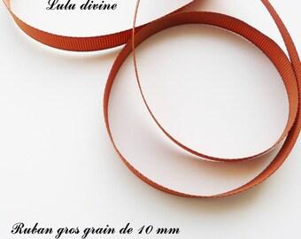Ribbon 10 mm, sold in 2 meters grosgrain: camel Brown