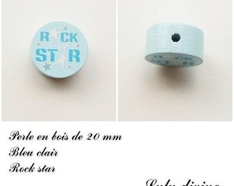 Wooden bead of 20 mm, flat bead, Rock star: light blue / medium blue