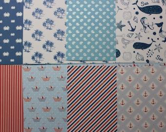 8 sheets assorted scrap 30cm x 15cm - sea theme-
