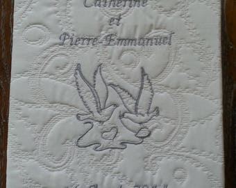 Guest Book custom embroidered white quilted grey thread