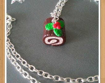 "Necklace ""log Christmas"" in polymer clay with silver chain"