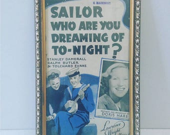 Sailor, who are you dreaming of tonight? (1943) Recycled Sheet Music Art/ Print (FREE POSTAGE)
