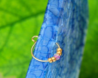 Temporary Nose Ring / 2mm opal nose ring / fake nose piercing / open nose piercing / 24g nose piercing / small nose piercing / nose piercing