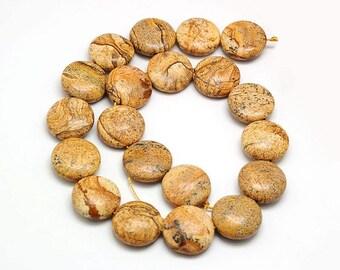 10 flat round beads Jasper - Pearl stone fine Jasper - stone japse semi precious round and flat