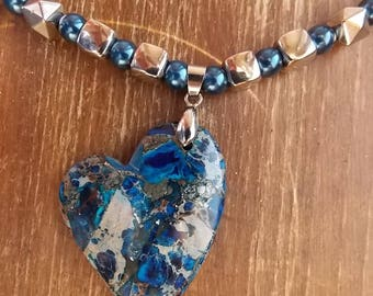 Necklace heart Czech glass beads, Metal beads, pearls with gem stone Pendendif plastics