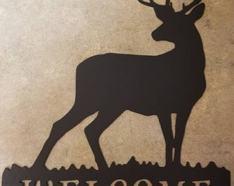 Welcome deer sign. Cabin, man cave