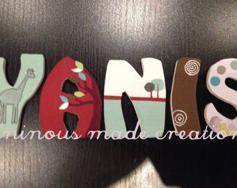 Decorated wood letter custom name order Ilyann and Michael
