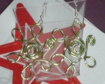 Sunny earrings engraved aluminum 2mm Lime Wire