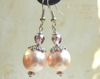 Earrings romantic pink and purple