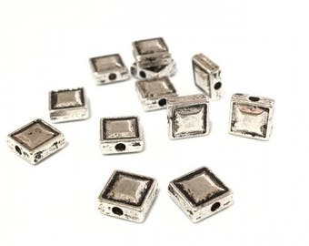 x 5 square 7.5 mm metal beads