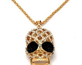 diamante skull design necklace on long chain
