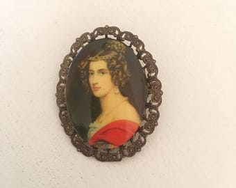 German vintage portrait brooch