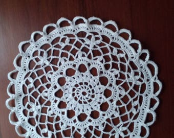 Crocheted Doily White crocheted doily Round crocheted doile Crocheted lace doily