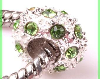 Pearl European N93 rhinestone spacer for bracelet charms