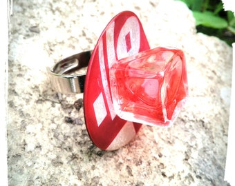 Ring cube resin geometric /bague Adjustable ring/woman / woman ring