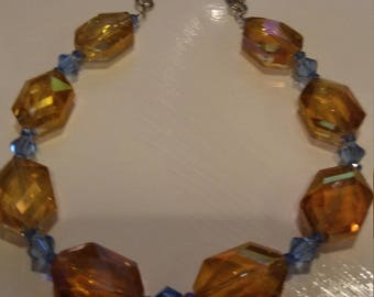 Necklace Crystal Orange and Blue
