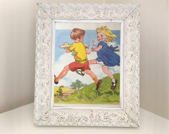 Vintage book illustration of children running. Retro nursery decoration. Print for frame. Gift for child's playroom. Picture of boy and girl
