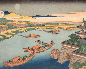 ORIGINAL SEMI RIGID PLACEMAT. Hokusai. Boats in the moonlight.