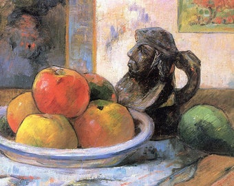 ORIGINAL design, durable and WASHABLE PLACEMAT - Paul Gauguin - still life with apples - classic.