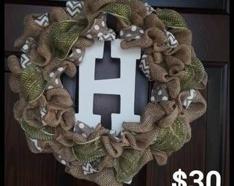 Monogram Wreath- Green/White