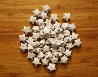 48 White Flower Paper Stars: Pink Flowers on White Background