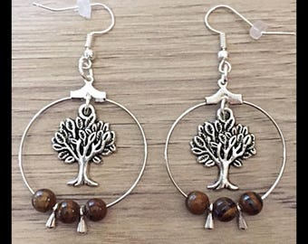 Tree of life earrings and Tiger eye beads