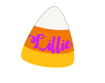 Candy Corn with name Decal
