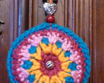 decorative hanging crochet Pincushion multicolor overlay technique