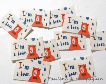 10 appliques made of natural fabrics label tags sewing bear pattern
