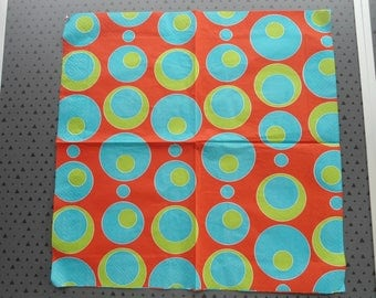 napkin round blue and green on orange background