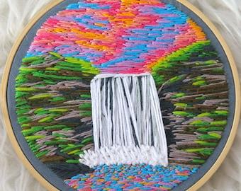 Sunset Waterfall Embroidery Skogafoss Free Shipping