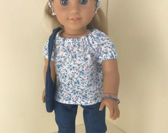Blue Flowered Pants Outfit for American Girl Doll