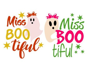 Miss Bootiful Halloween Ghost Cuttable SVG PNG DXF & eps Designs Cameo File Silhouette