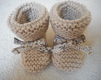 Baby wool with his little knot liberty star Adelajda beige.