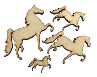 Blank Wooden Horse Plywood Scrapbooking Embellishment Wedding Decor Christmas