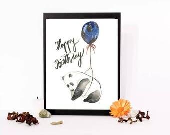 Happy Birthday panda watercolor paint, Handmade painting, watercolor birthday card,digital.
