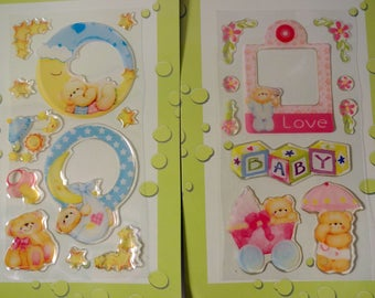 Stickers baby Cubs (x 21) - 2 stickers sheets - birth, newborn, girl, boy