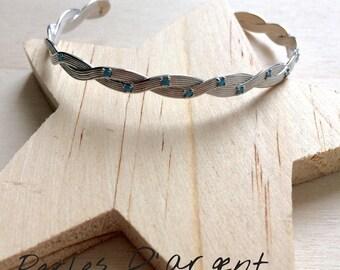 Bracelet half ring in 925 sterling silver / turquoise