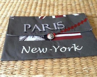 Coated canvas London/Paris IPAD pouch.