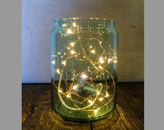 Mason jar Garland green LED battery light