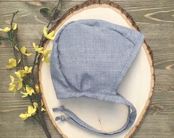 Gray Brimless Bonnet / Cotton Baby Bonnet / Baby Hat / Baby Bonnet / Gender Neutral Bonnet / Brimless Baby Bonnet