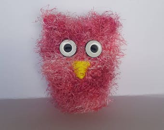 Hand knit, stuffed owl