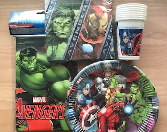 Marvel Avengers Branded Party Plates, Cups, Napkins & Table Covering