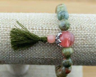 Unakite Mala Bracelet with Cherry Quartz Crystal