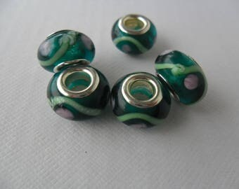 Set of 5 Charm, 14 mm beads, green