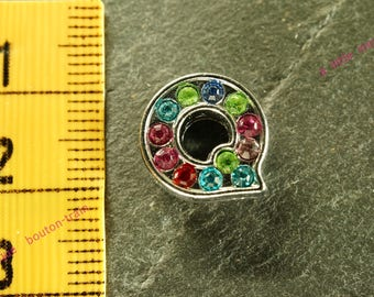busy Q letter multicolored rhinestone bead for bracelet